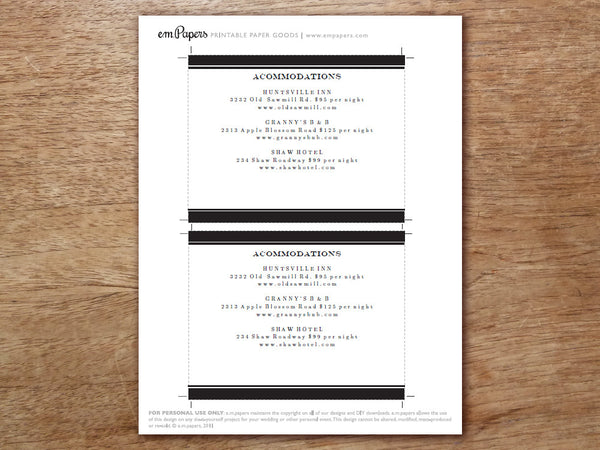 Printable Wedding Detail Card Template - Black Stripe