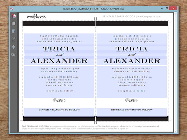 Printable Wedding Invitation PDF Template - Black Stripe