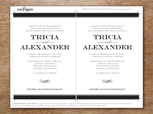 Printable Wedding Invitation Template - Black Stripe