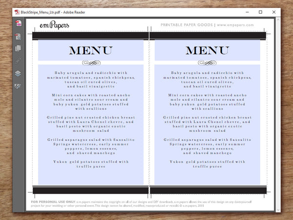 Printable Menu - Black Stripe