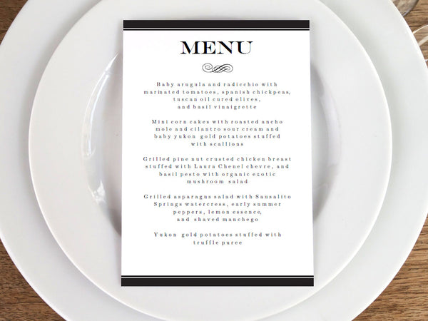 Printable Wedding Menu - Black Stripe