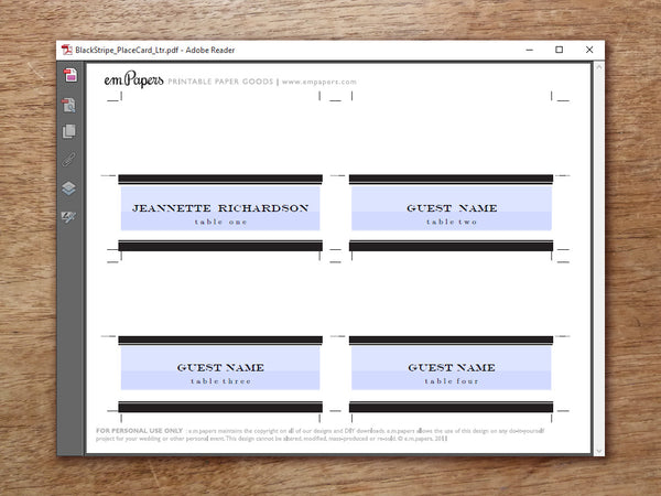 Printable Wedding Place Card - Black Stripe