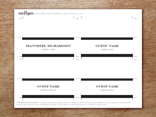 Printable Place Card - Black Stripe
