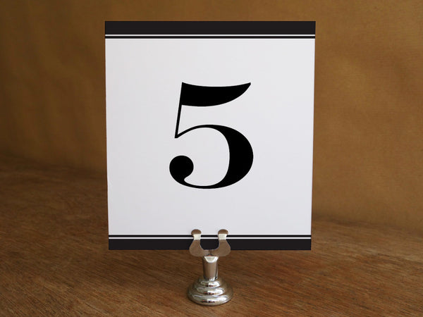 Printable Wedding Table Number - Black Stripe