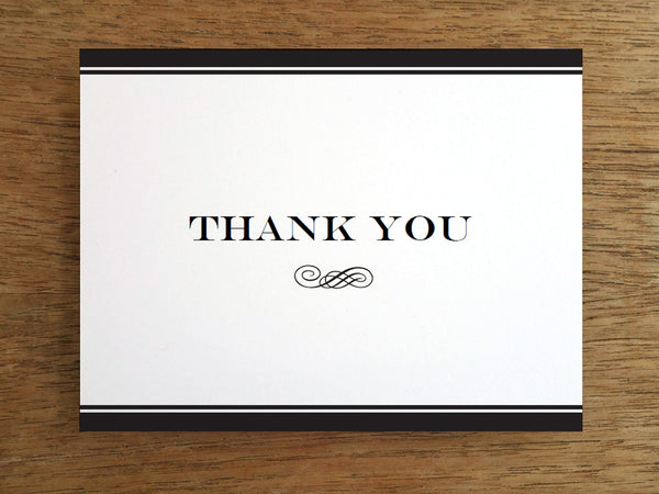 Printable Thank You Card - Black Stripe
