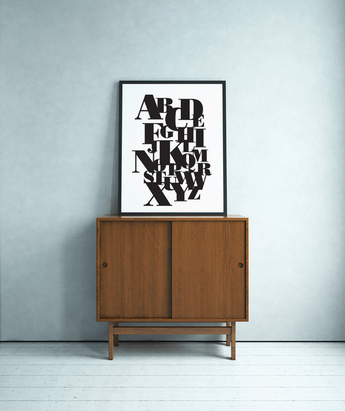 Printable Wall Art - Black and White Alphabet