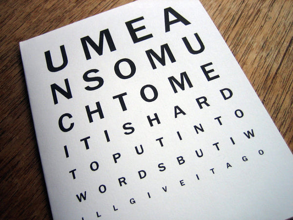 Printable Valentine Card - Eye Chart