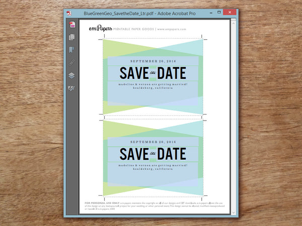 Printable Wedding Save the Date - Blue Green Geometric