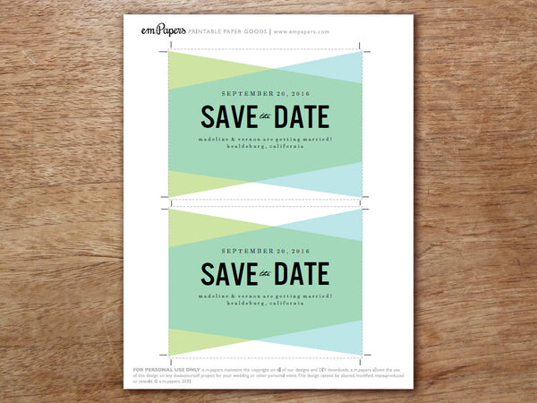 geometric DIY print at home save the date template