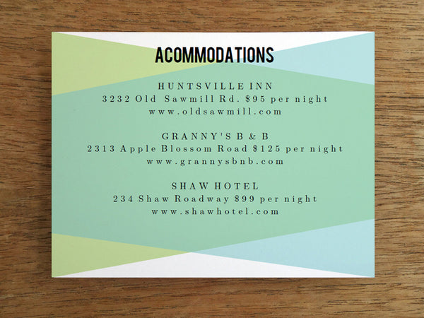 Printable Wedding Information Card - Blue Green Geometric