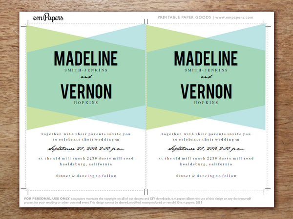 Printable Wedding Invitation Set - Blue Geo