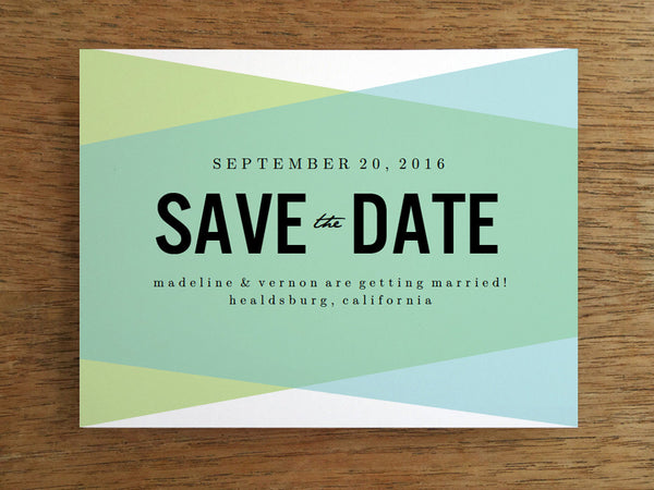 printable save the date template - blue green geometric