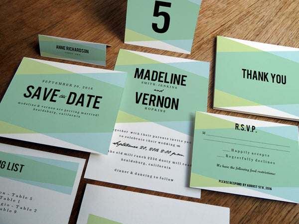 Printable Wedding Invitation Kit - Blue Green Geometric