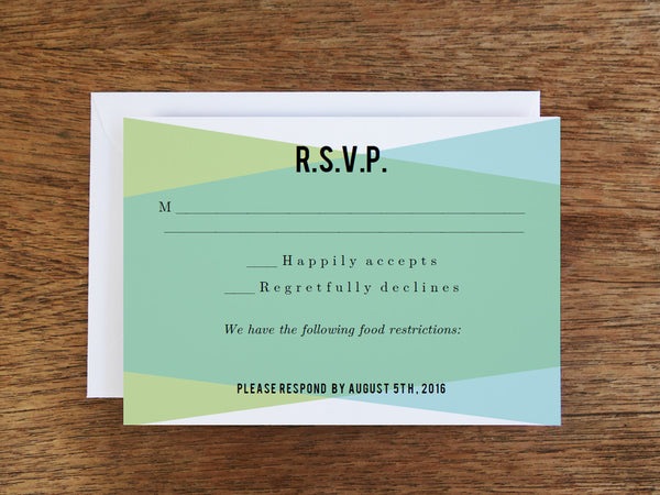 Printable Wedding RSVP Card - Blue Green Geometric