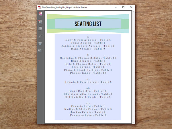 Printable Wedding Seating List - Blue Green Geometric