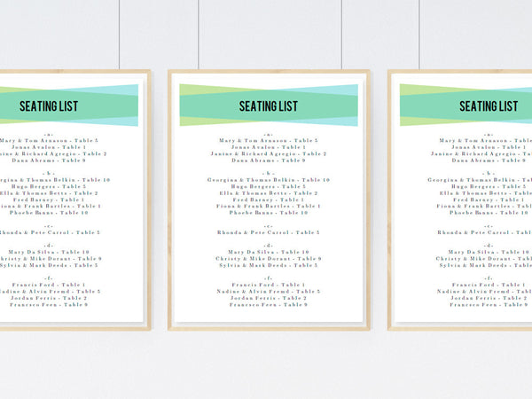 Printable Wedding Seating Sign - Blue Green Geometric