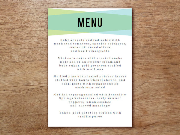 Printable Menu - Blue Green Geometric