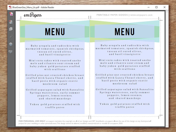 Printable Wedding Menu - Blue Green Geometric