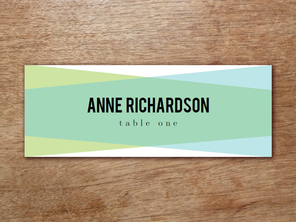 Printable Place Card - Blue Green Geometric