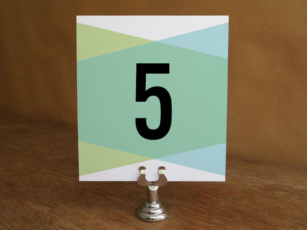 Printable Wedding Table Number - Blue Green Geometric