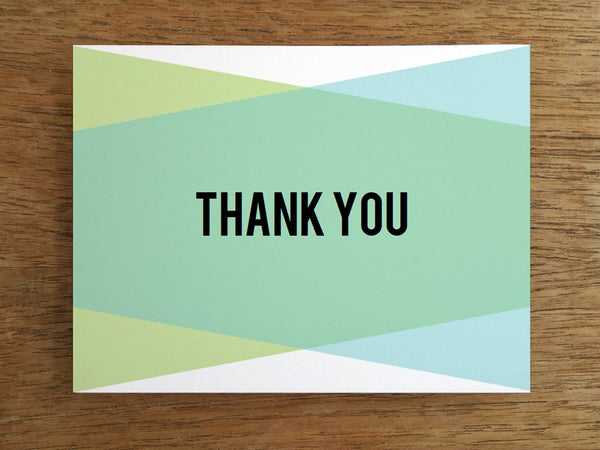 Blue Green Geometric Printable Thank You Note
