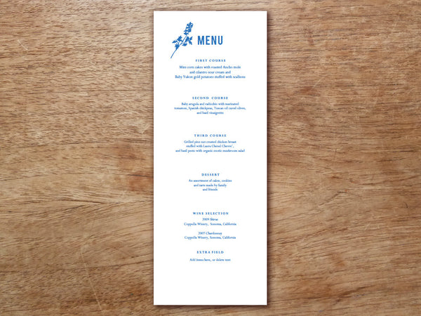 Printable Menu - Bluebell