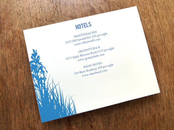 Printable Wedding Information Card - Bluebell