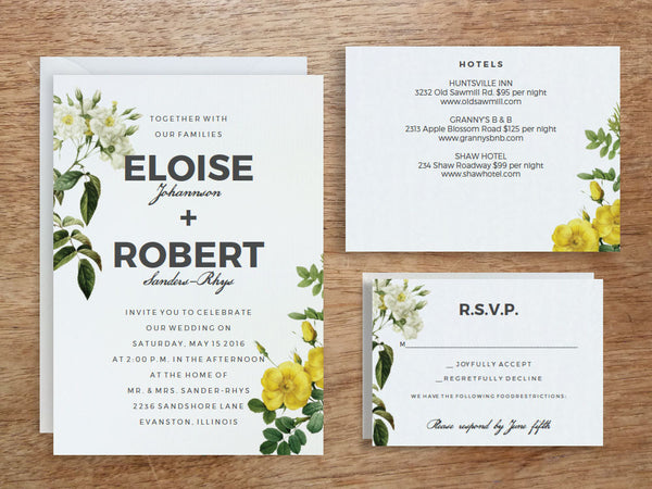 Printable Wedding Invitation Set - Botanical Roses