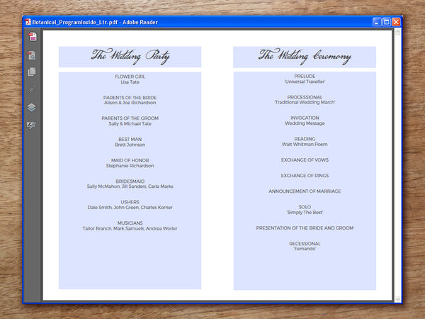 Printable Wedding Program - Botanical
