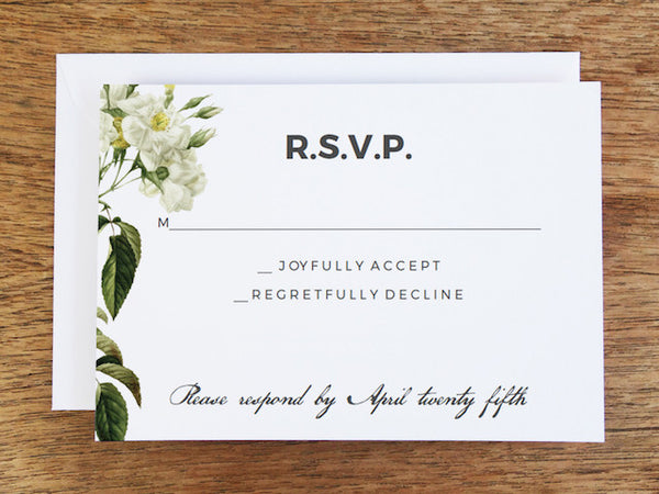 Printable Wedding RSVP Card - Botanical Roses