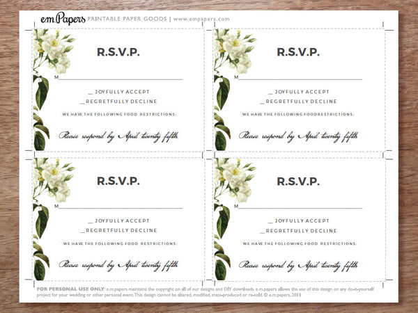 Printable Wedding RSVP Card Templat - White Roses