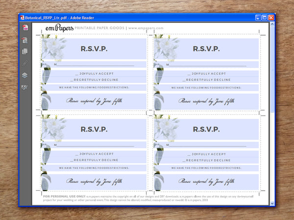 Printable Wedding RSVP Card - Botanical