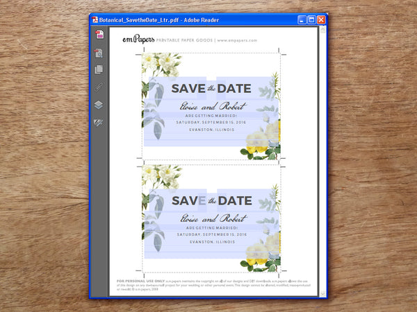 Printable Save the Date PDF Template - Botanical