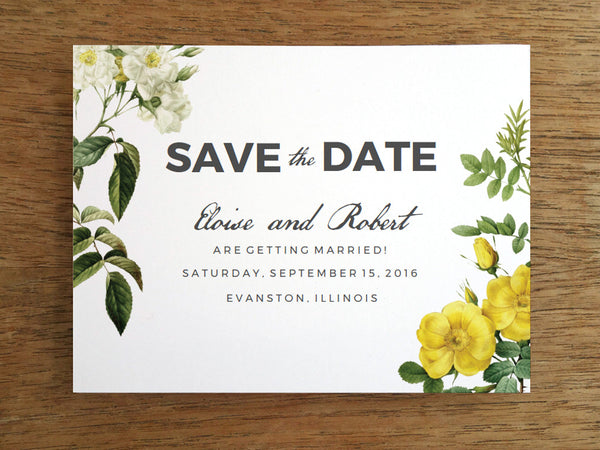 Printable Save the Date Template - Botanical - White & Yellow Vintage Roses