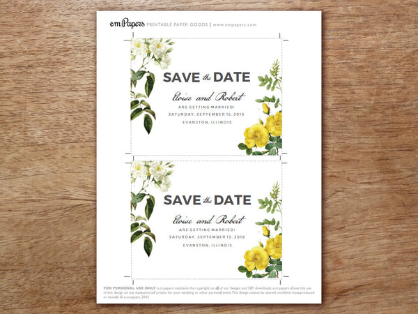 Printable Save the Date Template - Botanical