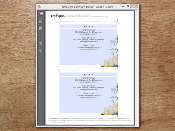 Printable Wedding Detail Card Template - Yellow Roses