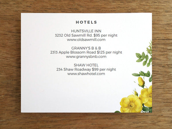Printable Wedding Information Card - Botanical