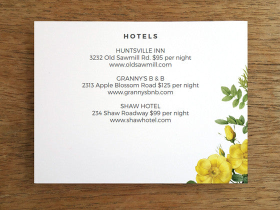 Printable Wedding Detail Card - Botanical Yellow Roses