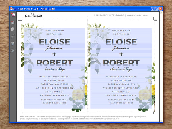 Printable Wedding Invitation Template - Botanical Roses
