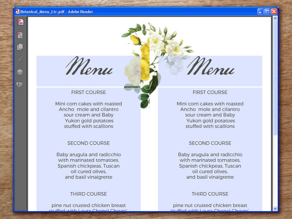 Printable Wedding Menu - Botanical