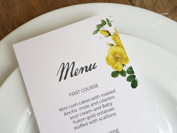 Printable Menu - Botanical