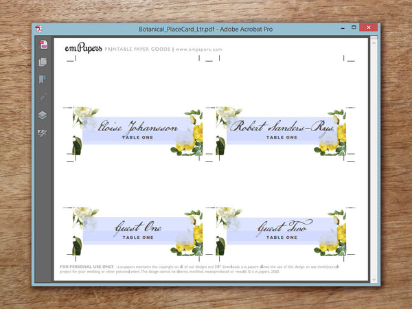 Printable Wedding Place Card - Botanical