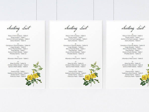 Printable Wedding Seating List - Botanical