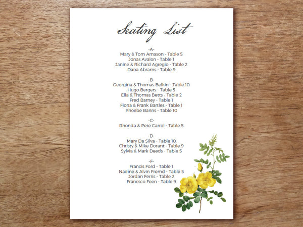 Printable Wedding Seating Sign - Botanical