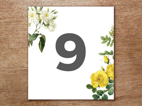 Printable Table Number - Botanical