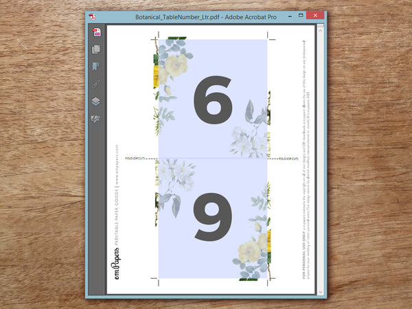 Printable Wedding Table Number - Botanical