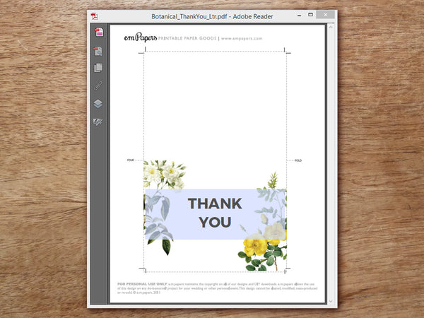 Printable Thank You Card - Botanical