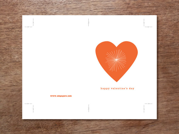 Printable Valentine Card - Bright Heart