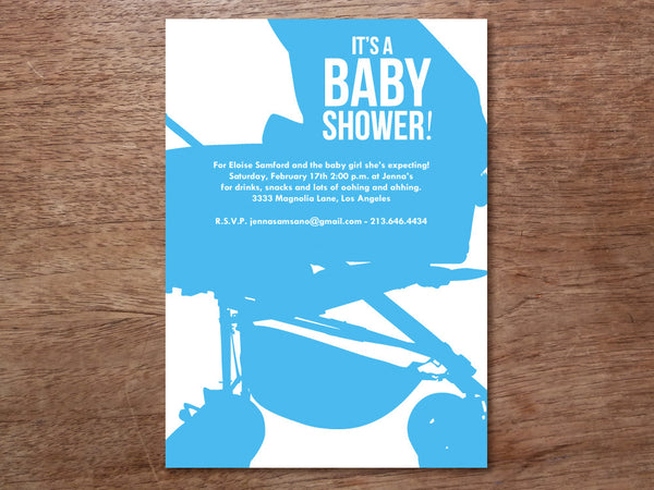 Printable Baby Shower Invitation - Modern Buggy
