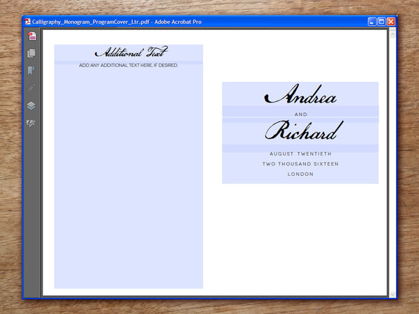 Printable Wedding Program - Calligraphy Monogram
